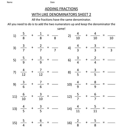 printable math worksheets fraction bars math salamanders fractions worksheets unlike denominators