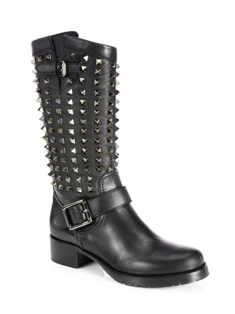 boots moto valentino noir rockstud leather midcalf moto boots in
