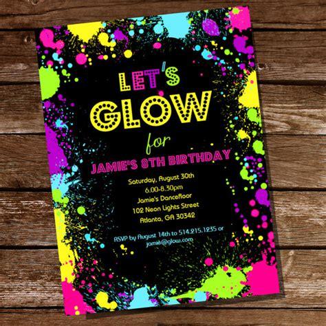 neon invitation template neon glow theme invitation instantly downloadable