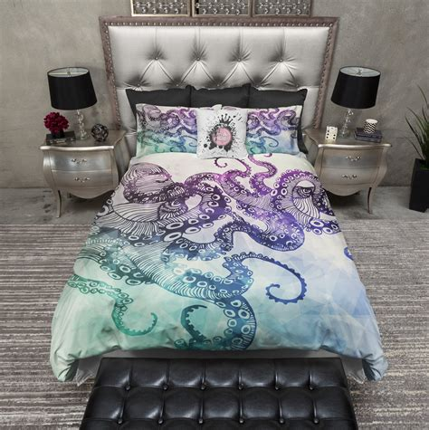 comforter protector modern watercolor octopus bedding cream ink and rags