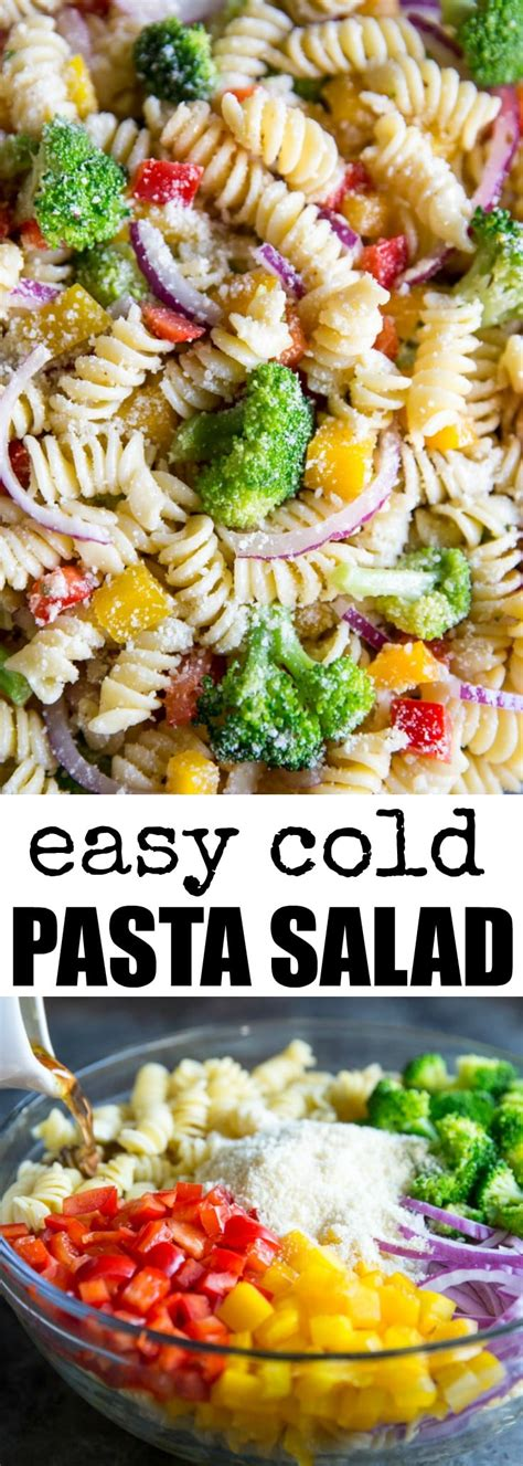 easy cold pasta salad rotini and broccoli recipe