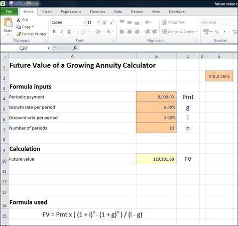 future value excel template future value of a growing annuity calculator