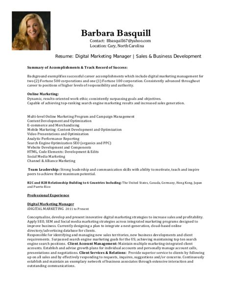 business development resume sles digital marketing manager sales business development