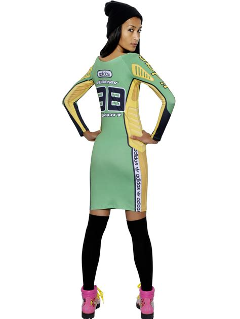 44312 Adidas Dress Hodie for adidas printed jersey moto dress in green lyst