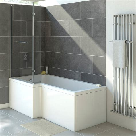L Shaped Shower Bath Suites trojan solarno 1500mm l shaped shower bath uk