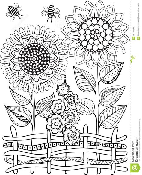abstract summer coloring pages black and white summer sunflowe isolated on white
