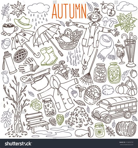 doodle rian autumn themed doodle set traditional symbols stock vector