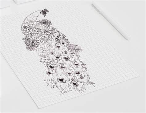 tattoo ontwerp van een pauw op de rug backpiece ill