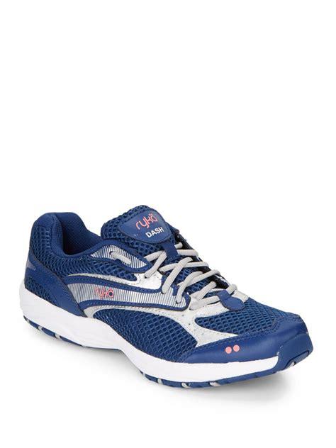 ryka sneakers ryka dash leather mesh walking sneakers in blue lyst