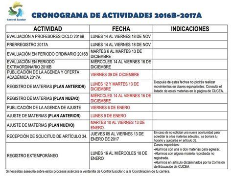 Calendario B Udg Calendario De Actividades 2016b 2017a Coordinaci 243 N De