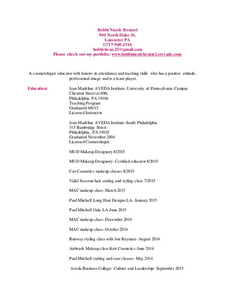 Resume For Cosmetology by Bobbinicolebentzel Updated Cosmetology Resume