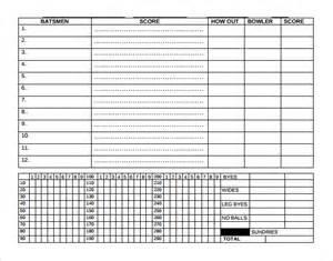 Simple Score Sheet by Cricket Score Sheet Templates 8 Free Sles Exles
