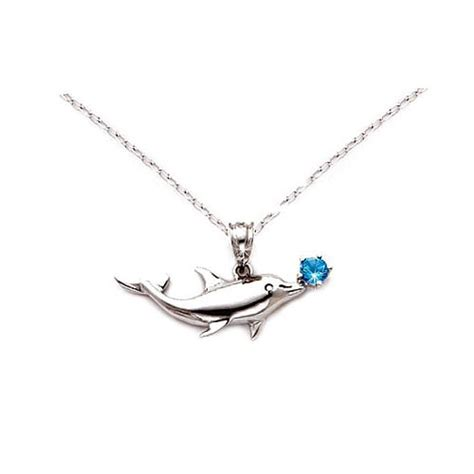 Dolphin Necklace blue topaz silver dolphin pendant necklace