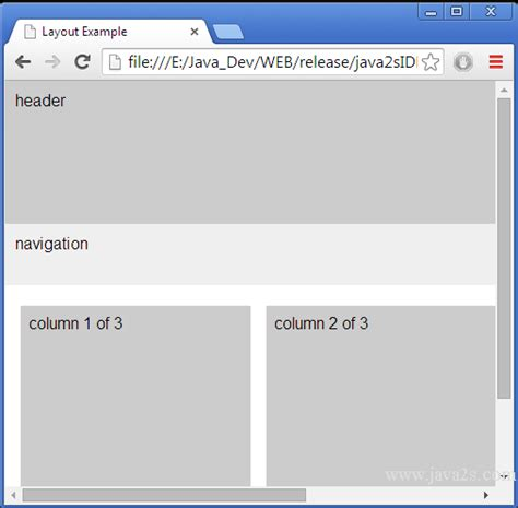 css layout minimum width set min height for three column layout in html and css