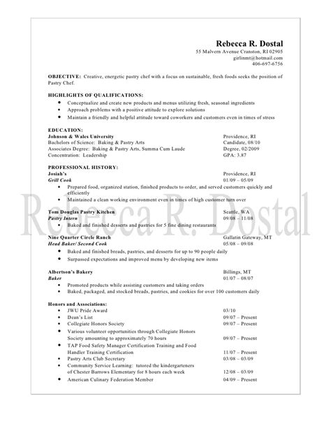 resume sle for pastry chef resume