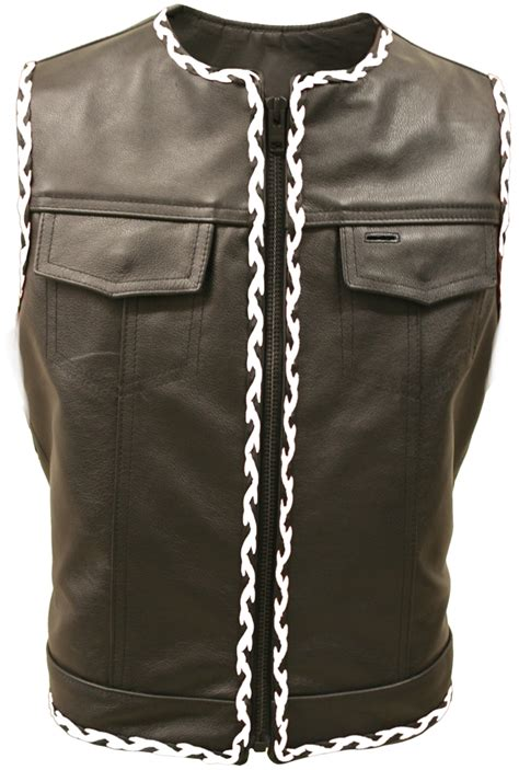 biker vest black and white braided biker leather vest