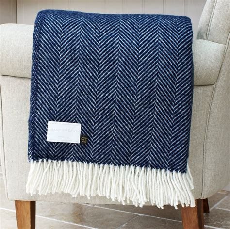 navy throws for sofa navy and cream herringbone wool throw by marquis dawe