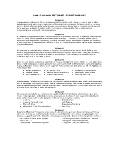 summary statement resume exles resume summary exle 8 sles in pdf word