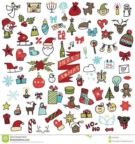 doodle draw icon pack new year icons set colored doodle