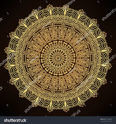 gold indian pattern mandala gold decorative indian round mandala stock vector