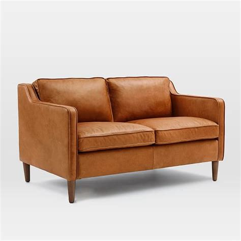 loveseat sofas hamilton leather loveseat 56 quot west elm