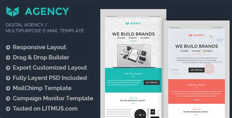 Digital Agency E Mail Template Builder Access By Eeemon Themeforest Themeforest Html Email Template