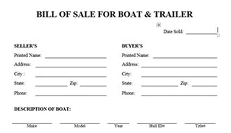 Bill Of Sale For Boat And Trailer Bill Of Sale Template Oregon