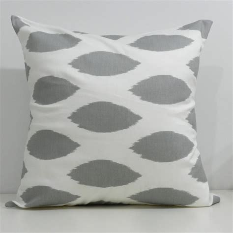 Grey Ikat Pillow by Designer Handmade Pillow Cases In Grey Ikat By