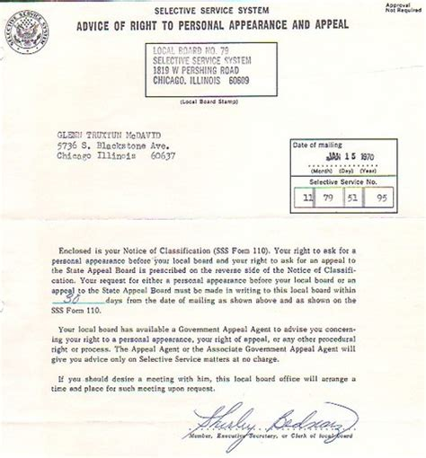 Selective Service Greetings Letter Notice From The Selective Service System Class Of 1972