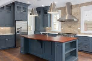 blue cabinets, stainless steel appliances, #Thermador
