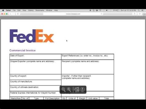 Fedex 101 Filling Out A Domestic Airbill Doovi Fedex Commercial Invoice Template