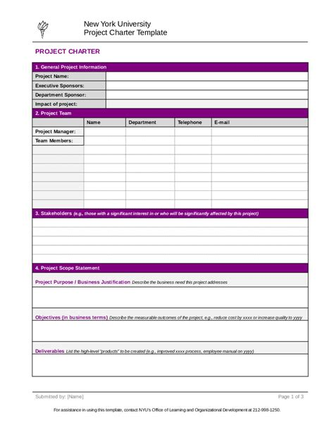 Project Charter Pmp Template 28 Images Project Management Project Charter Sle 1 Project Sle Project Plan Template