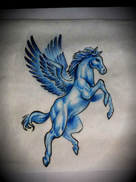 light blue tattoo brilliant chronic ink pegasus on right back shoulder