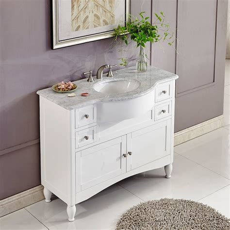 45 inch single sink contemporary white bathroom vanity