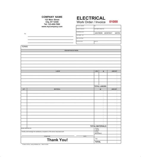 electrical invoice template free contractor receipt template 16 free word excel pdf
