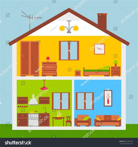 home inside interiors vector illustration flat stock