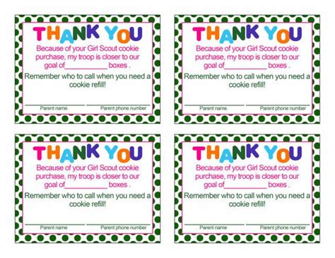 Scout Thank You Card Template by Scout Cookie Thank You Card By Sandysamdesigns On