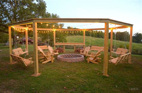 hexagon fire pit swing remodelaholic tutorial build an amazing diy pergola and