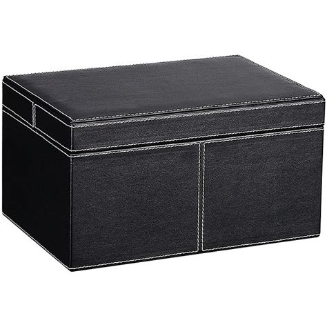 Decorative Filing Boxes Ebony Faux Leather Small Storage Box With Lid Free