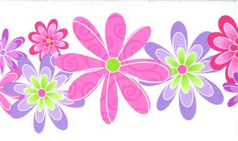 Bunga Violces Pink pink and purple flower wallpaper border wallpaper