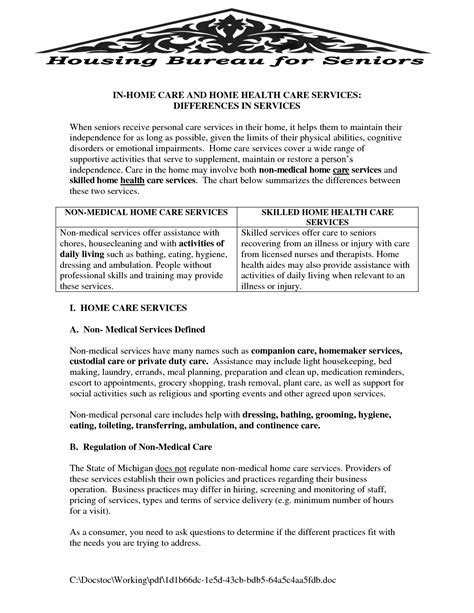non medical home care business plan template non medical home care business plan sle house design