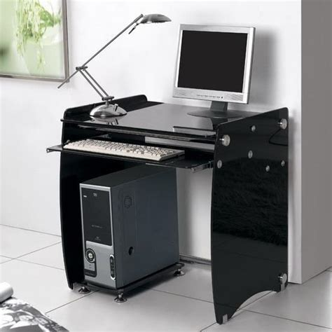 black glass computer desk work station large 1m boxey