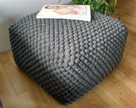 grey pattern pouf crochet blue green beige gray pouf ottoman knit ottoman