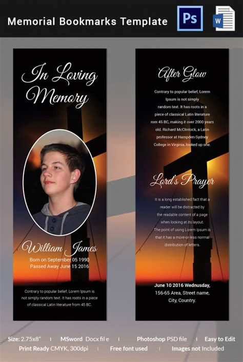 templates for memorial bookmarks funeral bookmark template 22 free psd ai vector eps