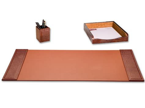 Brown Leather Desk Accessories D2037 Brown Crocodile Embossed Leather 3 Desk Set