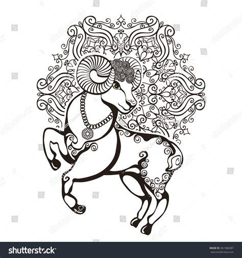 aries design ram animal zodiac stencil just sheepariesram mandala circleeastorientmuslim vector