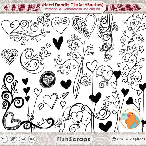 free doodle hearts clip doodles printable wedding clipart black