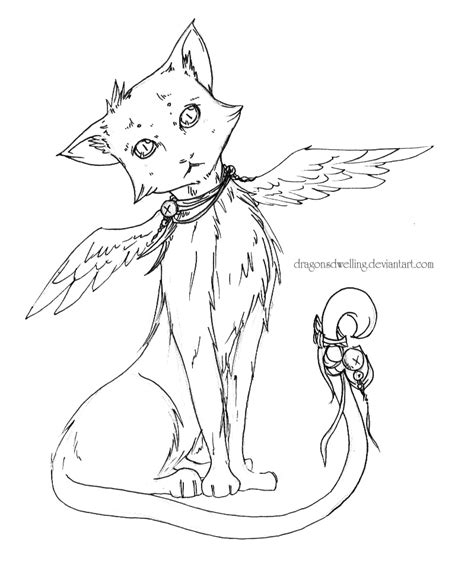 winged cat coloring page winged cat lineart by dragonsdwelling on deviantart