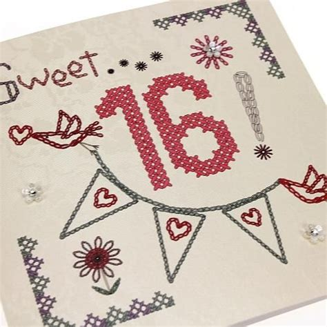 Handmade 16th Birthday Cards - handmade cross stitch 16th birthday card bunting