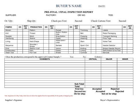 buyer final inspection sheet inspect system garment